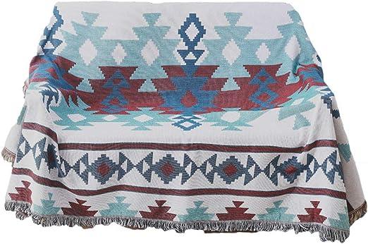 manta sofa,Manta de línea bohemia nórdica del país americano, manta de sofá de algodón indio étnico-130 * 160 cm: Amazon.es: Hogar