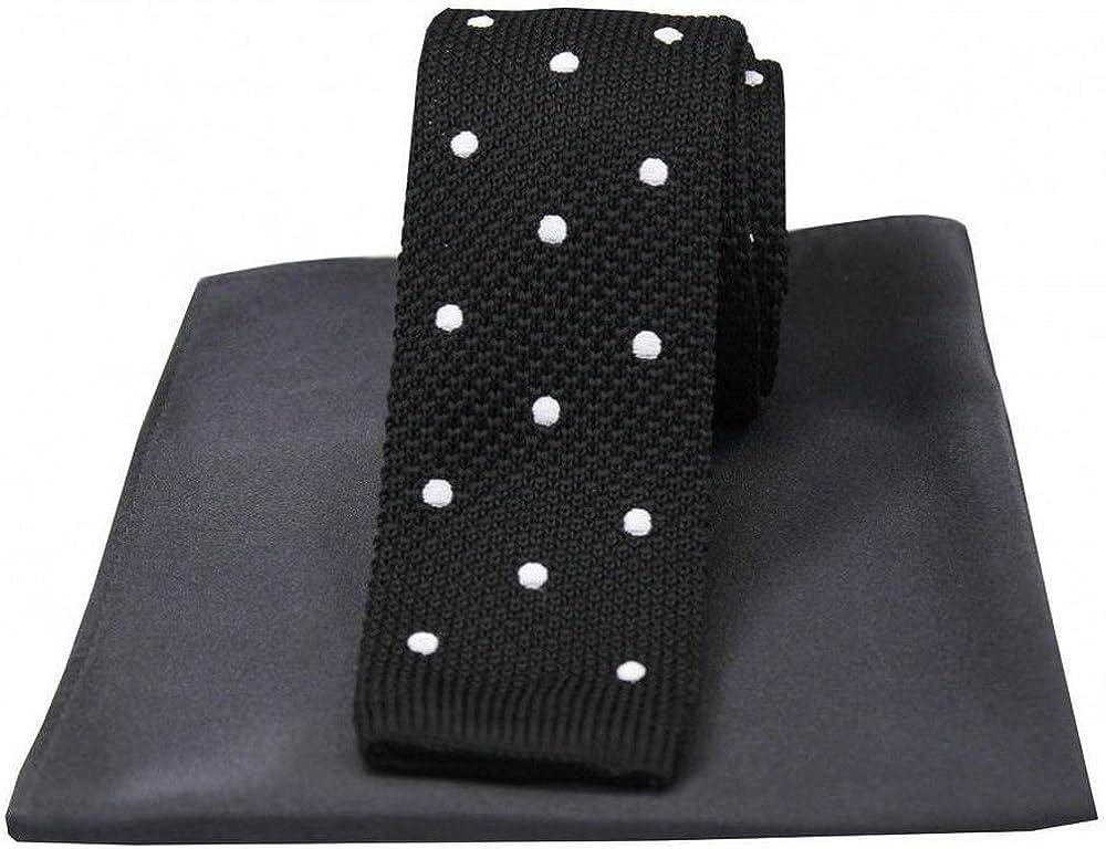 David Van Hagen Mens Plain Thin Knitted Tie Black