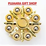PUJAARA Colorful Fidget Stress Reducer Anti Anxiety Full Metal Body Hand Wind Spinner for Children and Adults with Long Spinning Time (Golden)