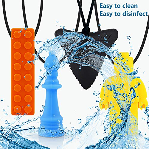 tuxepoc Autism chew Necklace,(4 Pack) Chewy for Kids Sensory chew Necklace for Boys and Girls,Silicone Chewy Sticks for ADHD,Autism,Biting Needs