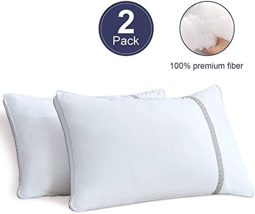 Bed Pillows for Sleeping 2 Pack Hypoallergenic Pillow for Side and Back Sleeper Hotel Pillows Down Alternative Cooling Pillows with Super Soft Plush Fiber Fill Queen Size
