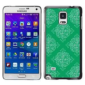 FECELL CITY // Duro Aluminio Pegatina PC Caso decorativo Funda Carcasa de Protección para Samsung Galaxy Note 4 SM-N910 // Pattern Wallpaper Art Vintage Green