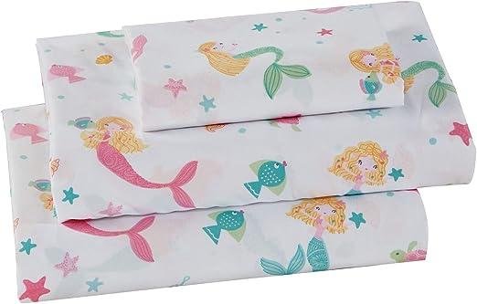 Kids Zone Home Linen 3 Piece Twin Size Sheet Set Pink Mermaid for Girls//Teens Mermaids Shells Fishes Turtles.