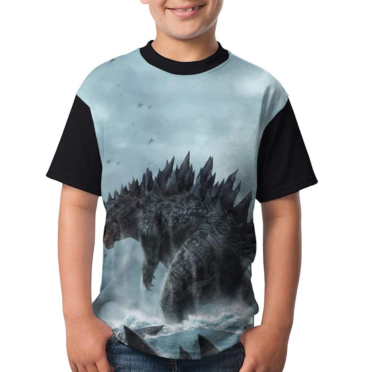 Godzilla-King Unisex Kids Short Sleeve T-Shirt Crew Neck Original Design Tee Shirt Tops