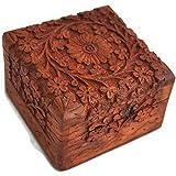 Zap Impex® Scatola per gioielli indiana, in legno di palissandro intagliato a mano, 10 cm