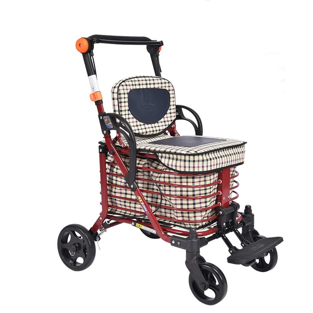 YFQ Standard Walking Frame Elderly Folding Walker with Padded Seat Family Assistant Stroller Rehabilitation Training Frame Shopping Cart Adjustable Height (Color : A)