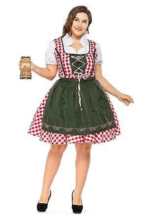 72968c70d056 Amazon.com: H&ZY Womens Halloween German Bavarian Oktoberfest Costume Plus  Size Beer Maid Fancy Dress: Clothing