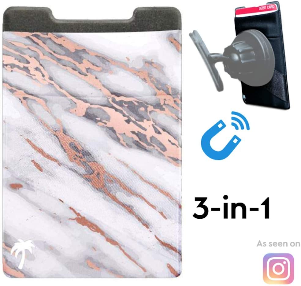New 3-in-1 Stick On Wallet for Any Phone Case | Unique: Spandex + Mounts to Magnets + Double-Pocket + Finger Strap + RFID Block – Strong 3M Sticky + Magnetic (Pink Marble, 1 Pack)