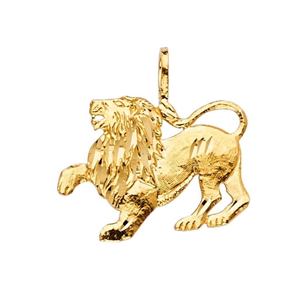 GoldenMine 14k Yellow Gold Lion Pendant (Size : 20 x 20 mm)
