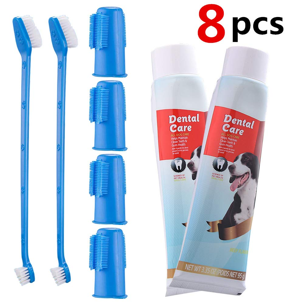 CooZero Dog Dental Care Kit, 2 Pack Dog Toothpaste and Dog Toothbrush Set Pet Soft Toothbrush Dog Finger Toothbrushes Pet Toothbrush for Cats and Dogs - Small to Large Dogs by CooZero