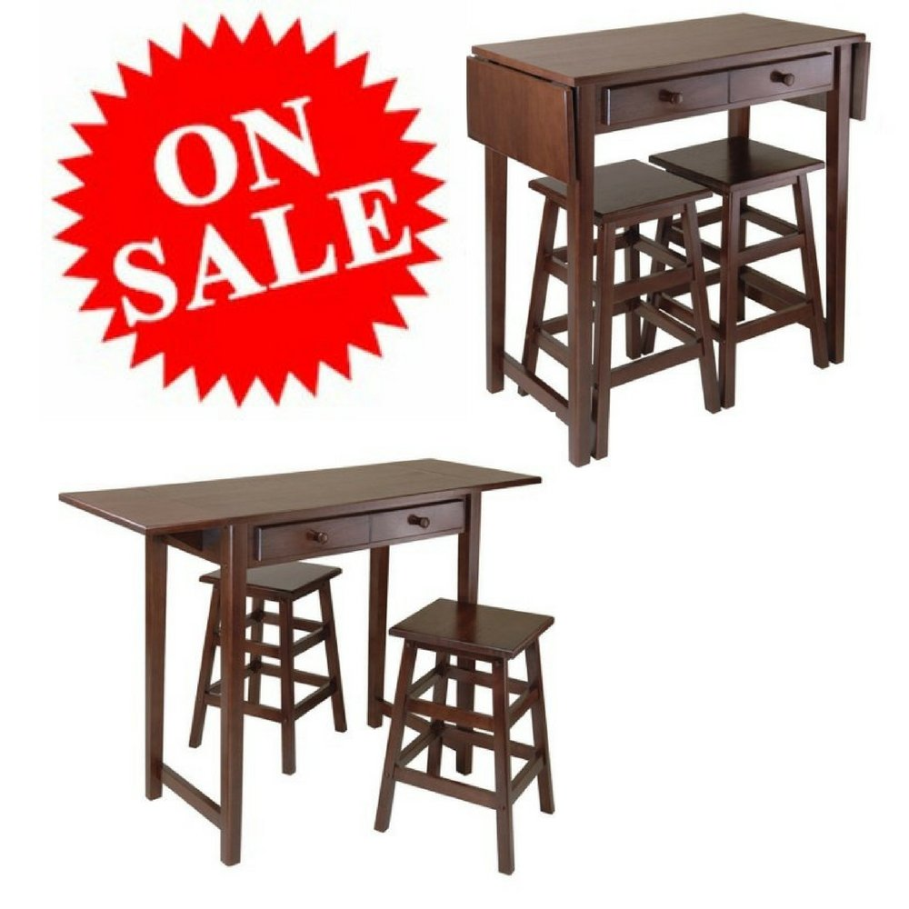 Breakfast Wooden Table Set with Stools Kitchen Island Table Set Coffee Classical Expendable Small Narrow Table Set with Storage Drawers eBook by Easy&FunDeals