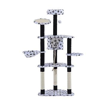 Árbol para gato para arañar blanco + patas negras 153 cm: Amazon.es: Productos para mascotas