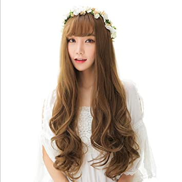 Amazon Com Wig Ladies Wig Long Wave Synthetic Air Bangs