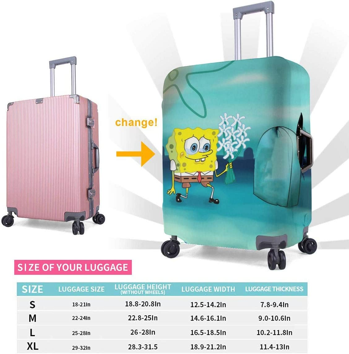 Travel Luggage Cover Spongebob Squarepants Cartoon Travel Luggage Cover Suitcase Protector Fits 26-28 Inch Washable Baggage Covers