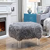 19 Inch High Ottoman Inspired Home Ava Grey Faux Fur Ottoman - Modern Acrylic Legs   Upholstered   Living Room, Entryway, Bedroom