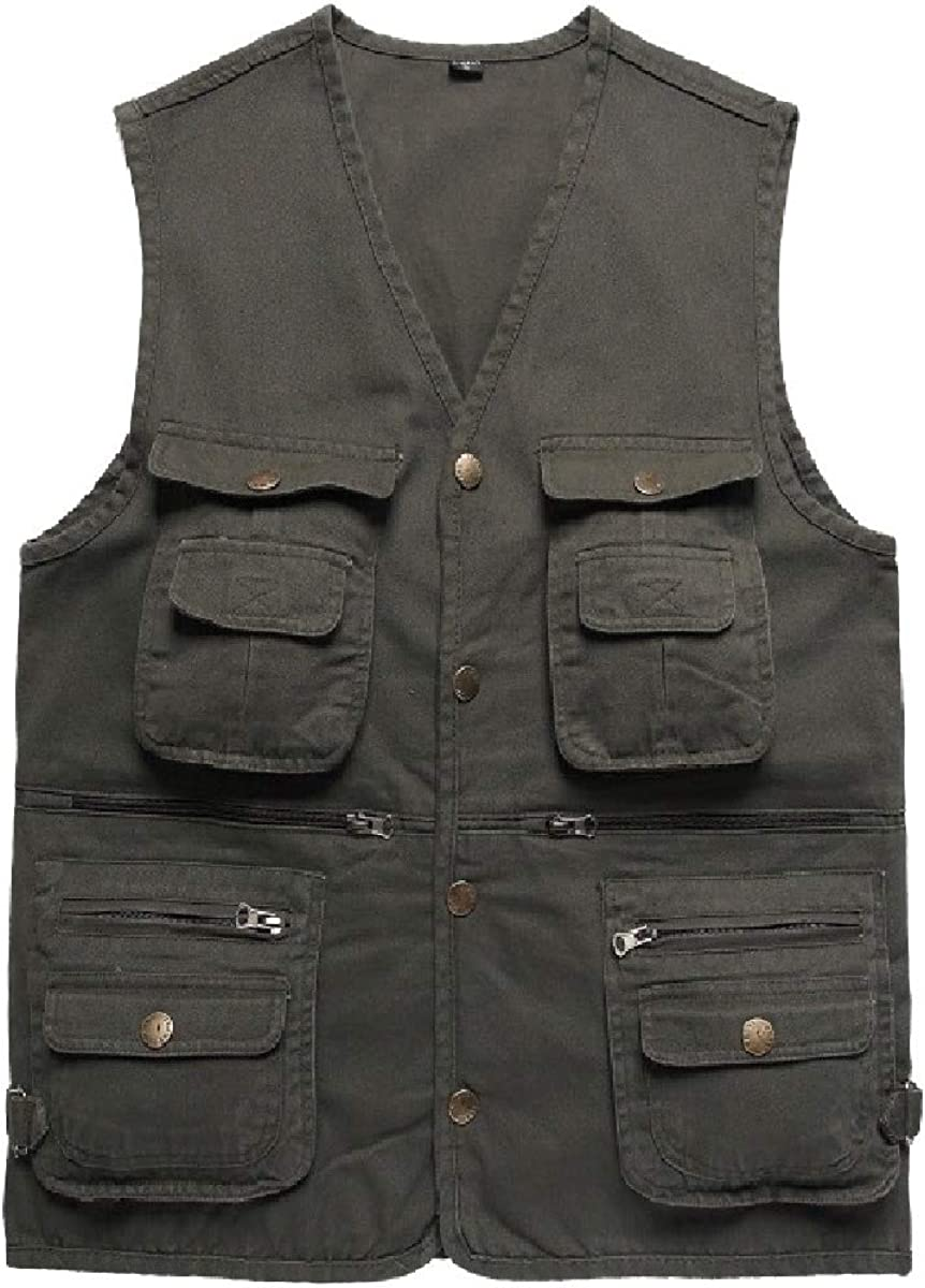 HEFASDM Mens with Pockets Waistcoat Light Weight Travel Photography Vests