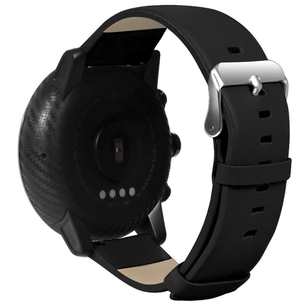 Saisiyiky Correa de Reloj de Cuero Compatible con Amazfit Stratos / HUAMI xiaomi Pace Smartwatch ,22mm Liberación Rápida Pulsera de Repuesto Pebble ...