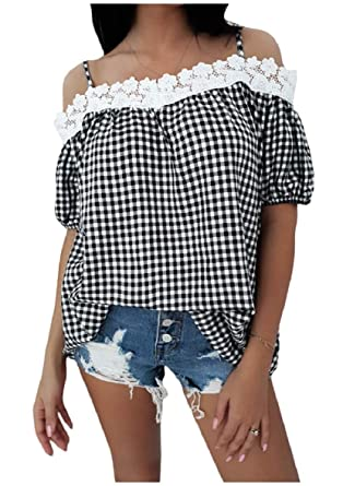 f942cbeb43427 Tootless-Women Short-Sleeve Lace Trim Cold Shoulder Plaid Shirt Top at  Amazon Women s Clothing store