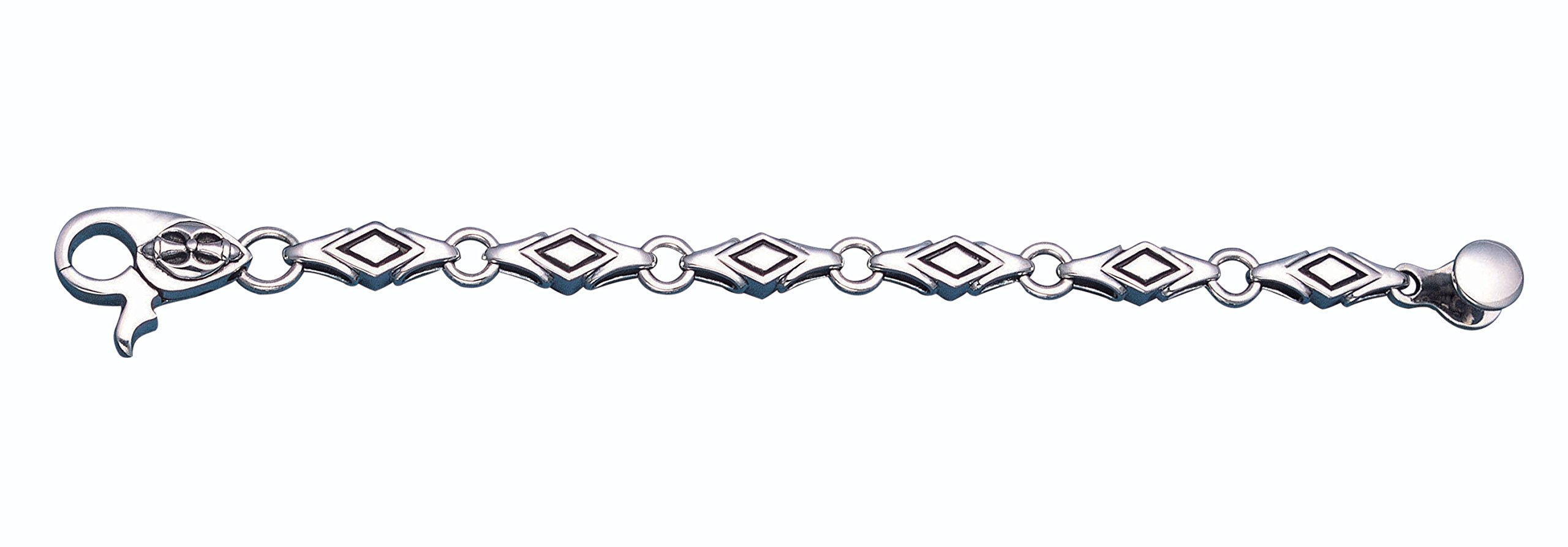 Men's Oxidized Sterling Silver Diamond Shaped Link Bracelet 9'' Long
