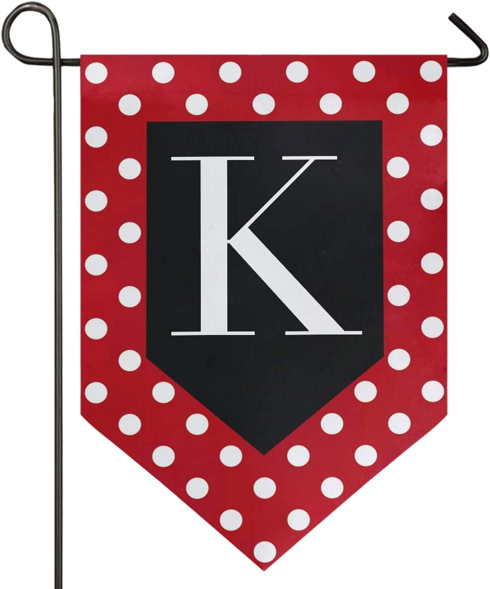Oarencol Monogram Letter K Red and White Polka Dot Pattern Garden Flag Double Sided Home Yard Decor Banner Outdoor 12.5 x 18 Inch