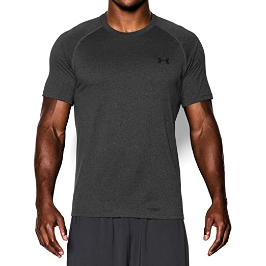 fdcc678f03 Under Armour Men's Tech Short Sleeve T-Shirt, Carbon Heather /Black, Small