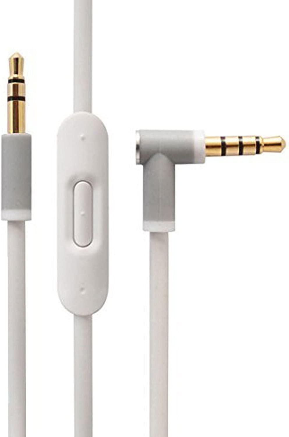 Replacement Audio Cable Cord Wire with in-line Microphone and Control for Beats by Dr Dre Headphones Solo/Studio/Pro/Detox/Wireless/Mixr/Executive/Pill(White)