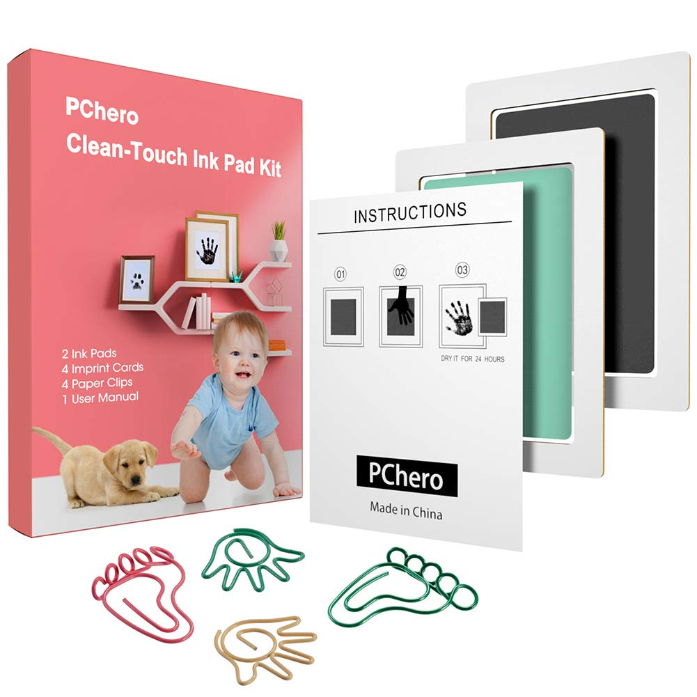 PChero Baby Handprint and Footprint Clean-Touch Ink Pads Black + Blue + Pink, A Paw Print Ink Kits for 0-6 Months Baby Shower Gift