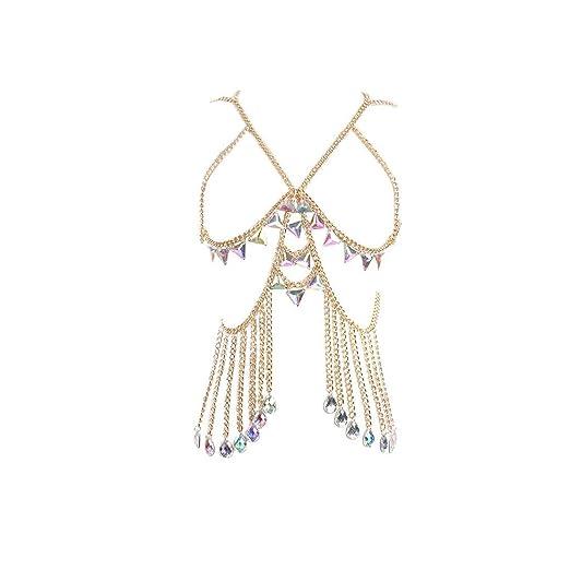 63bfae78490528 UMFun Women Crystal Bra Chest Body Chain Set Jewelry Bikini Chain Harness  Neck Beach Chain Nightclub