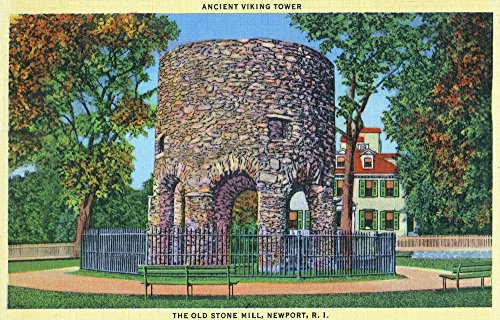 Newport, Rhode Island - View of the Old Stone Mill; Ancient Viking Tower (9x12 Fine Art Print, Home Wall Decor Artwork Poster) ()