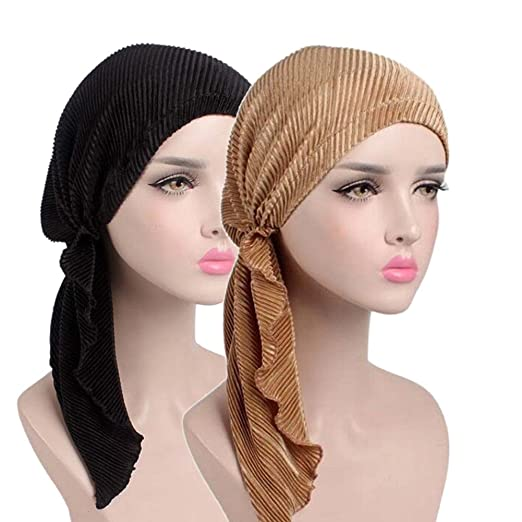 61744839da7 2 Pack Womens Scarf Pre Tied Chemo Cancer Hat Beanie Long Tail Turban  Headwear at Amazon Women s Clothing store