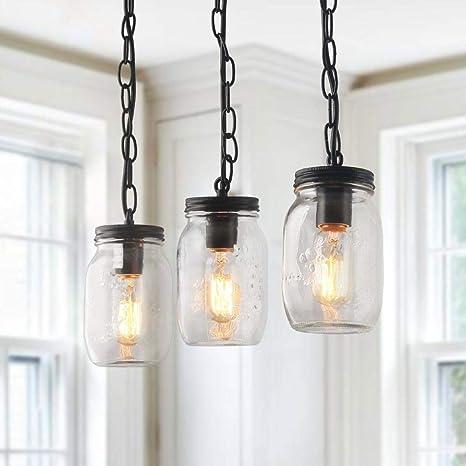 LNC - Lámpara de techo de madera con 5 luces de tarros de ...