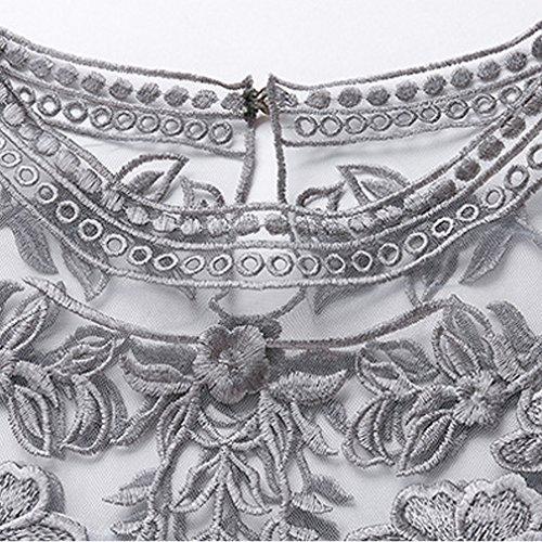 Spitze Damen Grau Stickerei Kleid Honghu 5gxqSCOwC
