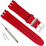 Silver Plated Stainless Steel Buckle Waterproof Silicone Rubber Watch Strap Watch Band