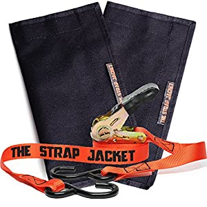 Ratchet Tie Down Straps | 2 Ratchets and 2 Jackets Combo Pack | Professional Heavy Duty Solution to Excess Strap & Storage | Great for Motorcycle Truck Moving Cargo & Trailer