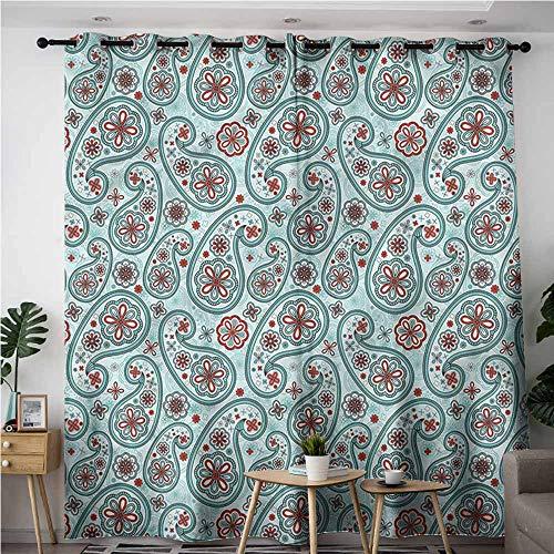 (XXANS Waterproof Window Curtains,Paisley,Ottoman Artwork Oriental,for Bedroom Grommet Drapes,W120x72L)