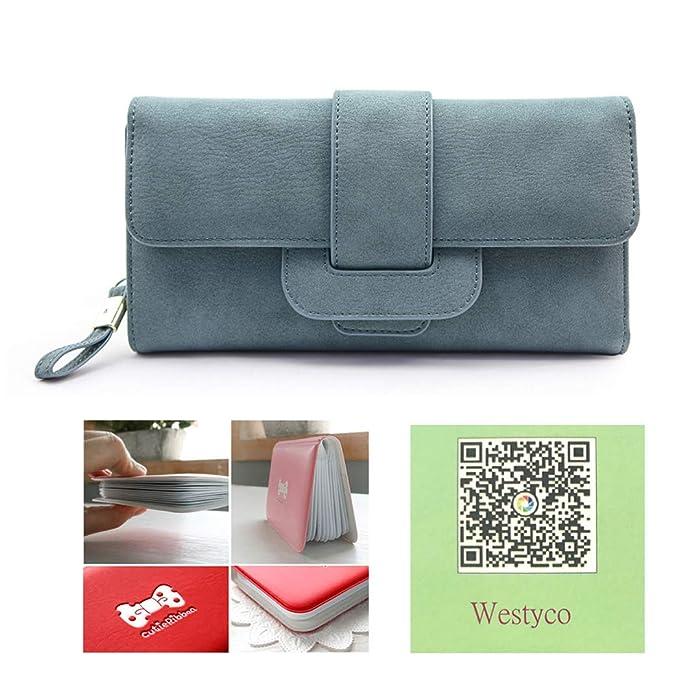 d114ef59fb Women Large Capacity Zipper Long Clutch Wallet Leather Lady Elegant Purse  Card Holder Case(Blue