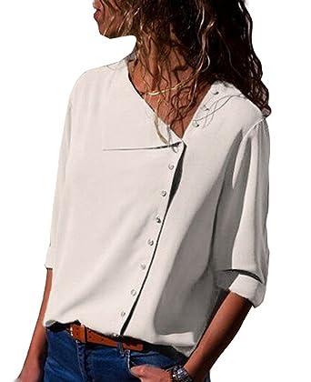 ASSKDAN Femme Chemise Moussline de Soie Col V avec Bouton T-Shirts Blouse  Tops Manche 1fc1adbdb878
