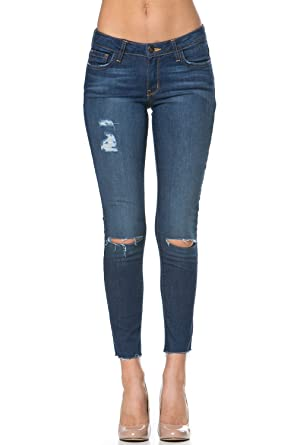 1bbb3167d0baeb Women's Low Rise Knee Slit Distressed Ankle Cut Skinny Jeans Denim Pants  Blue Denim Size 31 PS1086 at Amazon Women's Jeans store
