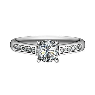 SonMo Joyas&Anillo Oro Blanco Compromiso Anillos con Diamante.Oro Blanco para Aniversario para Mujer Anillo