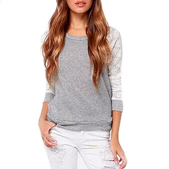 Rcool Mujeres Backless Manga Larga Bordado Encaje Camisa del Raglán Ganchillo Top Blusa (ES=