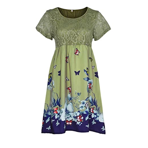 0ddebb178bffb BODOAO Women Plus Size Dresses Floral Printed Short Sleeve Lace ...