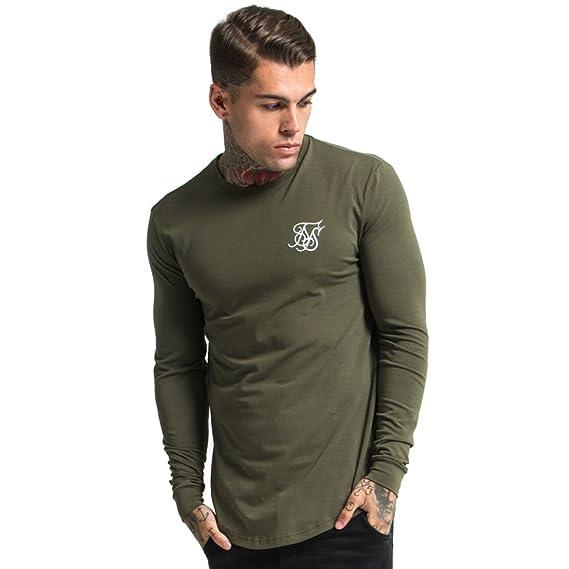Sik Silk - Camiseta de Manga Larga - para Hombre Verde Caqui Medium: Amazon.es: Ropa y accesorios