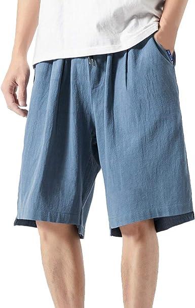 Pantalones Cortos de Hombres Lino de algodón Moda Color Sólido ...