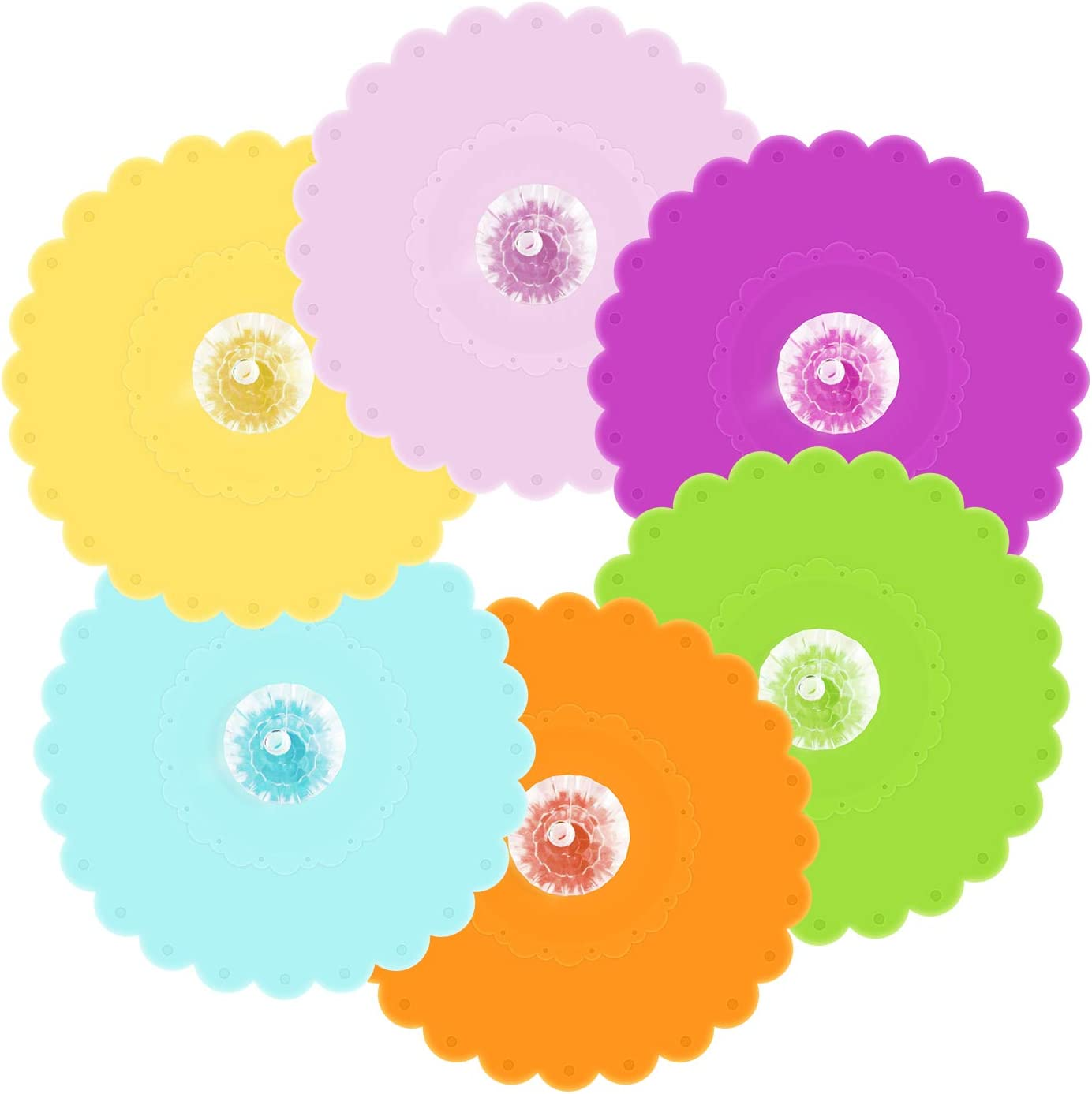 Food Grade Silicone Cup Lids [6 Set], Multicolored Cup Cover, ANBANGLIN Anti-dust Airtight Seal Mug Cover, Hot Cup Lids with Cute Diamond
