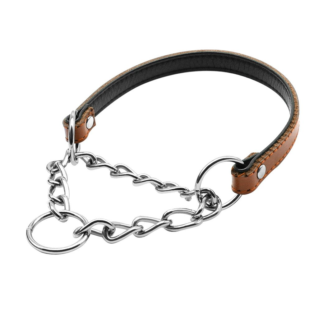 LOVELY Dog Chain Training Collar PU Leather Pet Chain Chocker Collars For Small Medium Dogs Brown M