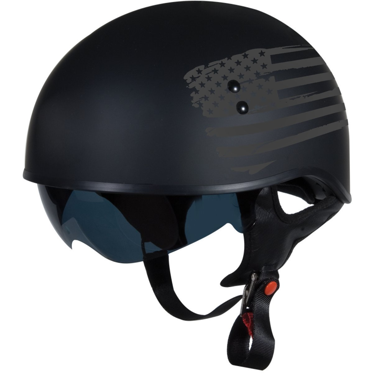 "TORC T55 Spec-Op Half Helmet with 'Flag"" Graphic (Flat Black, Large) by TORC"