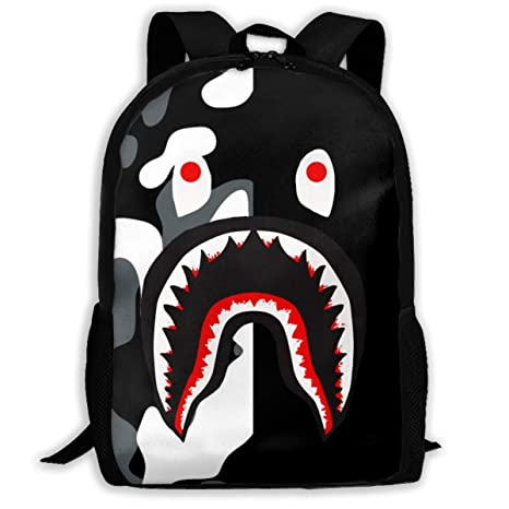 Bape Shark Backpack >> Amazon Com Sunmoonet Bape Blood Shark Half Black Camo Backpack