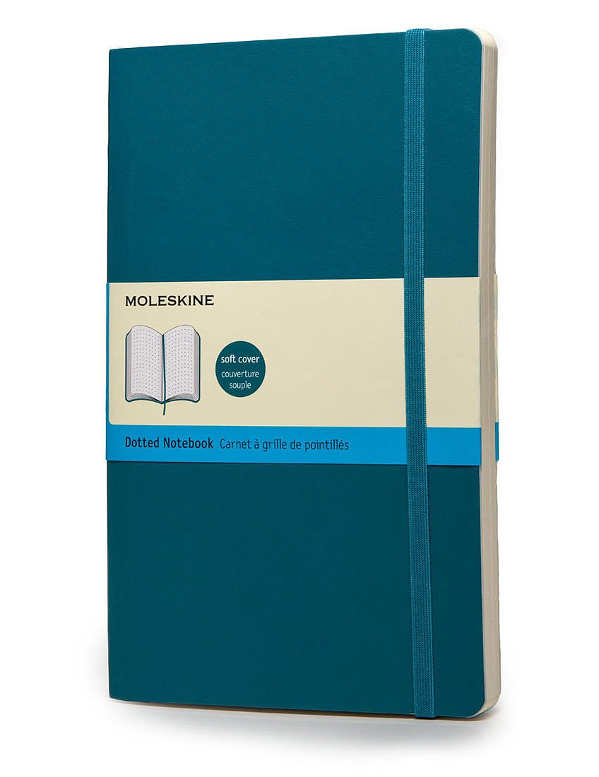 Moleskine Classic Notebook Large (5 x 8.25''), Dotted Pages, Underwater Blue, Soft Cover Notebook for Writing, Sketching, Journals