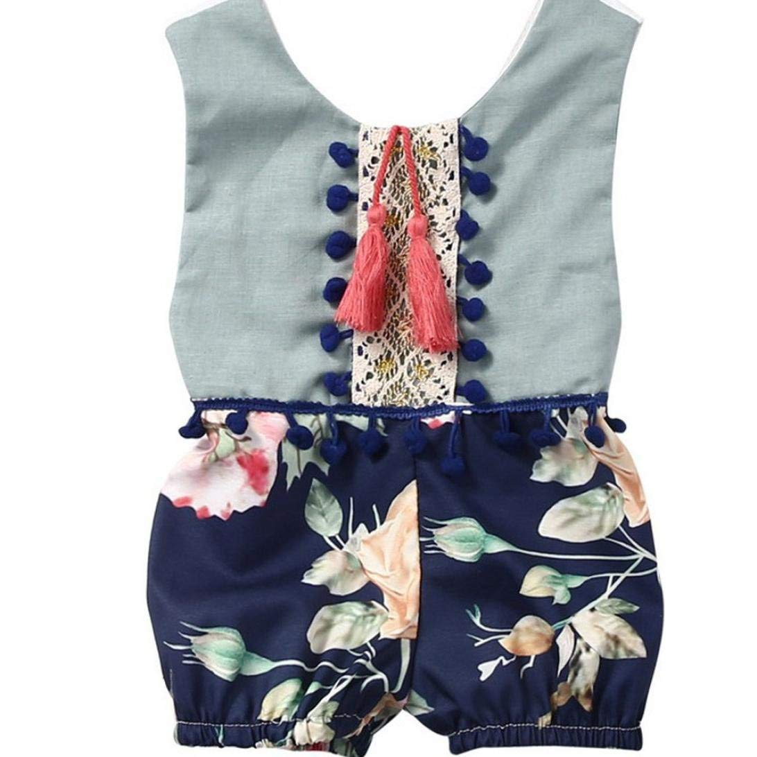 Yevison Baby Summer Sleeveless Romper Toddler Kids Boys Girls Floral Jumpsuit Outfits Clothes White Durable and Useful