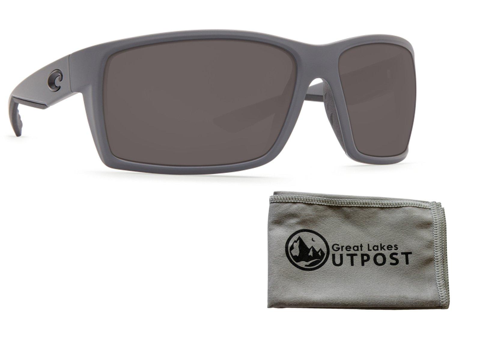 74c4252e4c23e Costa del Mar Reefton Gray 580P Matte Gray Frame Sunglasses w Cloth